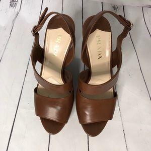 Prada Shoes - PRADA brown leather wedge platform heels Italy 37